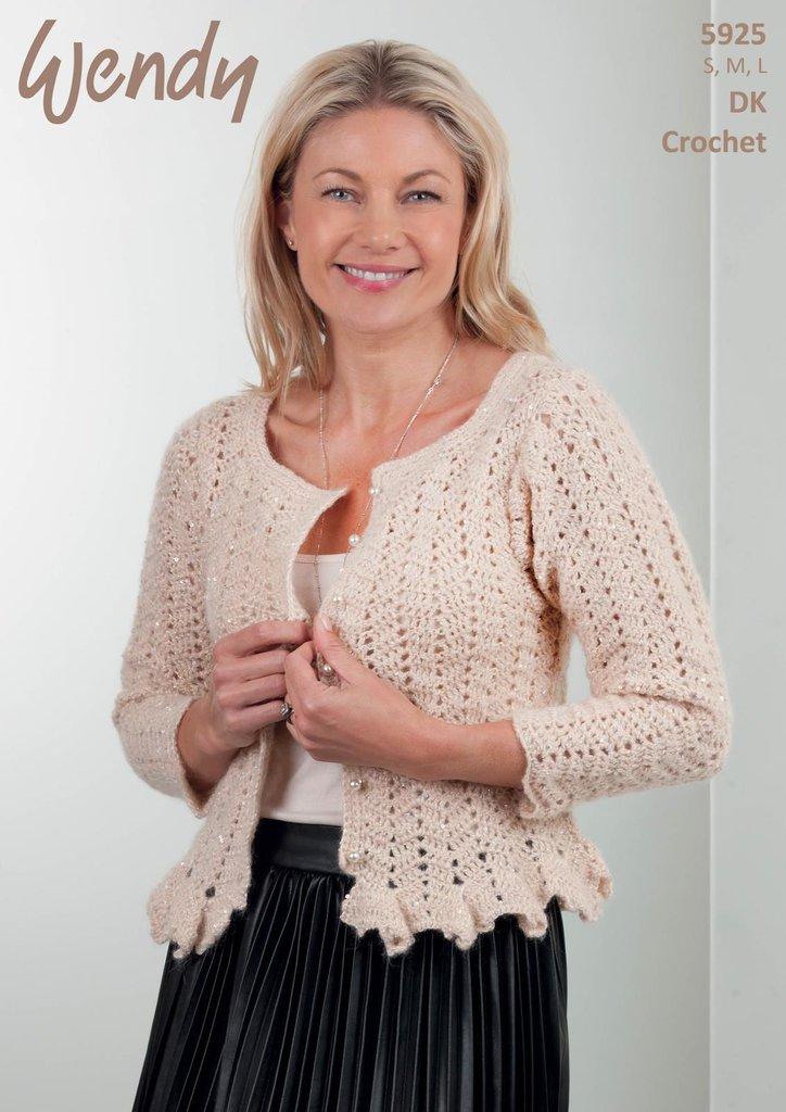 Wendy 5925 Crochet Pattern Ladies Peplum Cardigan In Wendy Celeste