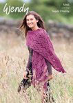 Wendy 9566 Knitting Pattern Lacy Shawl in Serenity Super Chunky