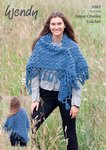 Wendy 9567 Crochet Pattern Ladies Shawl in Serenity Super Chunky