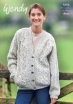 Wendy 5951 Knitting Pattern Ladies Cable Cardigan in Aran with Wool