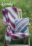 Wendy 9565 Crochet Pattern Diagonal Stripe Throw and Cushion Cover in Serenity Chunky