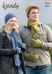 Wendy 5953 Knitting Pattern Unisex Hat, Scarf, Gloves and Mittens in Aran with Wool