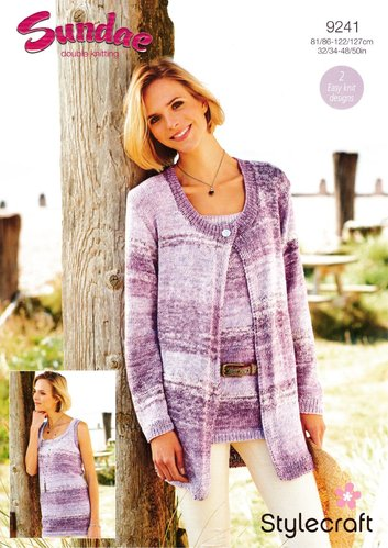 Stylecraft 9241 Knitting Pattern Ladies Easy Knit Cardigan and Vest in Sundae DK