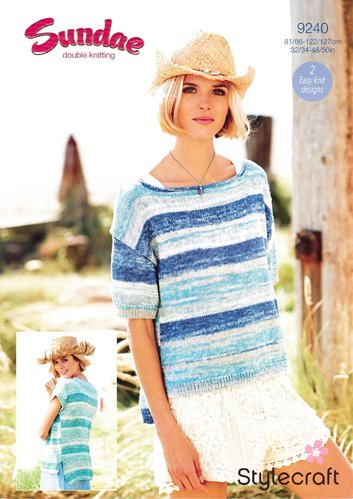 Stylecraft 9240 Knitting Pattern Ladies Easy Knit Sweaters Tops in Sundae DK