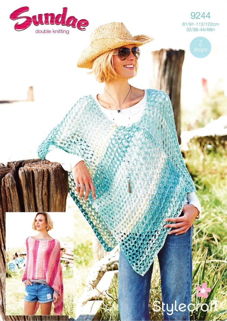 Knitting Pattern For Dk Poncho : Stylecraft 9244 Knitting Pattern Ladies Ponchos in Sundae ...