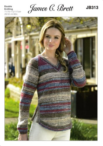 James C Brett JB313 Knitting Pattern Ladies V Neck Sweater in Woodlander DK