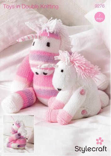 Stylecraft 9276 Knitting Pattern Unicorn Toys in Wondersoft DK and Wondersoft Merry Go Round