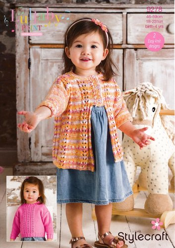 Stylecraft 9278 Knitting Pattern Baby Child Sweater and Cardigan in Lullaby Print and Lullaby DK