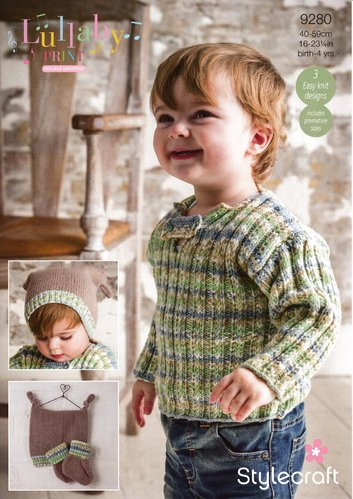 Stylecraft 9280 Knitting Pattern Baby Child Sweater Hat & Bootees in Lullaby Print and Lullaby DK