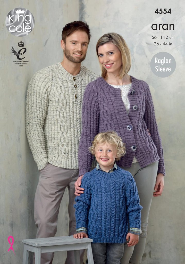 King Cole 4554 Knitting Pattern Family Cable Raglan Sweater And