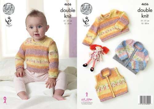 King Cole 4656 Knitting Pattern Baby Waistcoat, Cardigan and Sweater in King Cole Splash DK