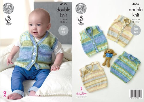 King Cole 4655 Knitting Pattern Baby Slipovers Tank Tops and Waistcoats in King Cole Splash DK