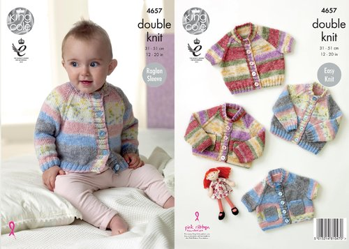 King Cole 4657 Knitting Pattern Baby Raglan Sleeve Cardigans in King Cole Splash DK