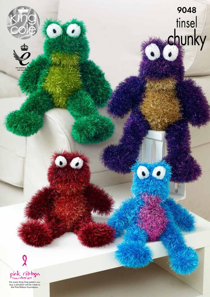 King Cole 9048 Knitting Pattern Toy Frogs in Tinsel Chunky ...