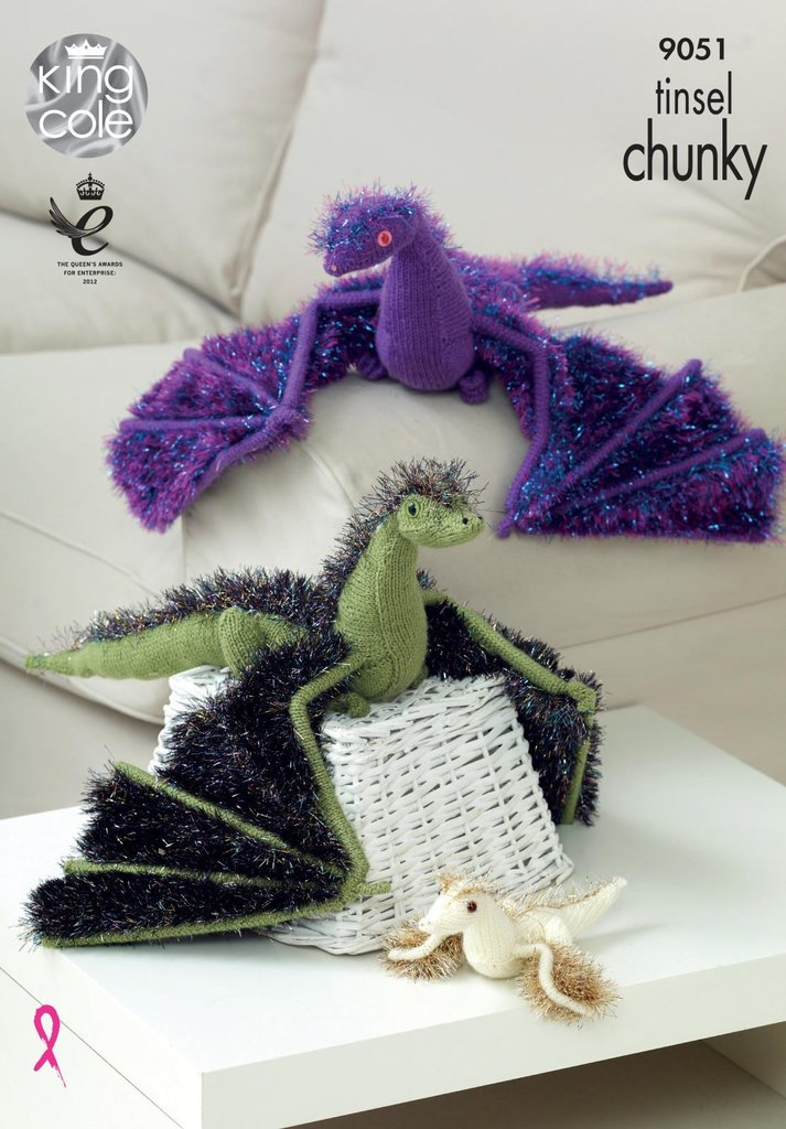 King Cole 9051 Knitting Pattern Toy Dragons in Tinsel Chunky and Pricewise DK...