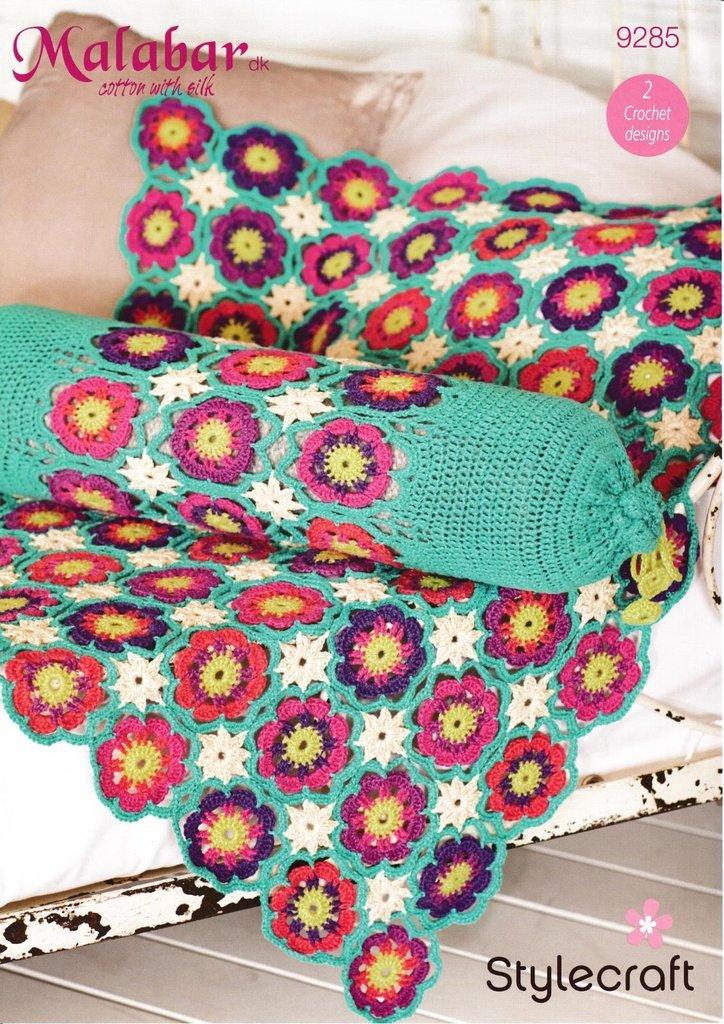 Dk Crochet Patterns : ... 9285 Crochet Pattern Flower Throw and Bolster in Stylecraft Malabar DK