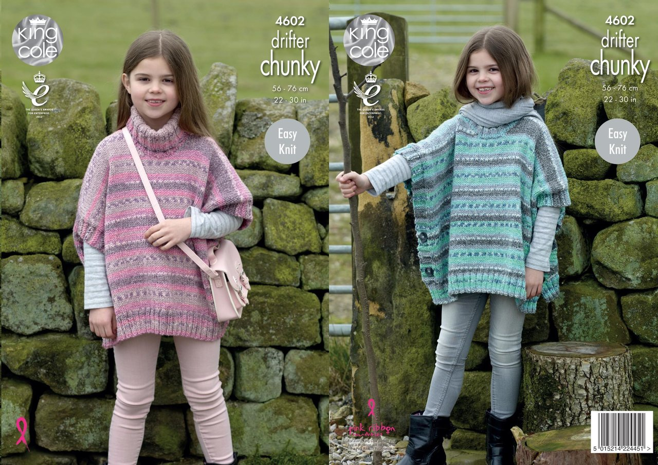 King Cole 4602 Knitting Pattern Girls Easy Knit Ponchos in King Cole Drifter ...