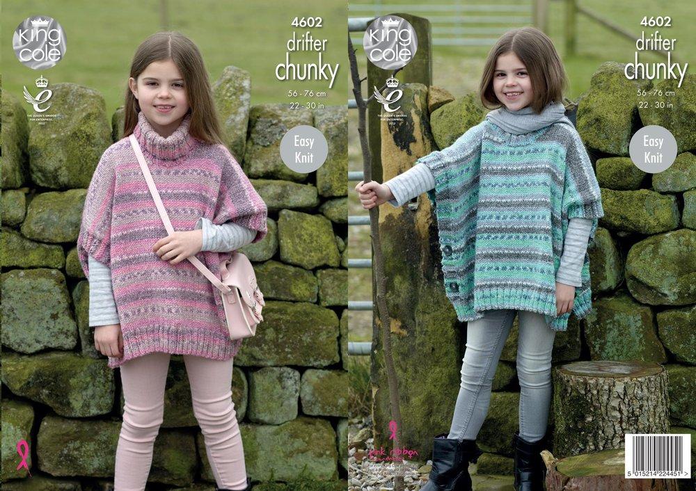 King cole 4602 knitting pattern girls easy knit ponchos in king cole king cole 4602 knitting pattern girls easy knit ponchos in king cole drifter chunky dt1010fo