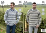 King Cole 4600 Knitting Pattern Mens Round and V Neck Sweaters in King Cole Drifter Chunky