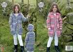 King Cole 4606 Knitting Pattern Girls Hooded and Collared Coats in King Cole Drifter Chunky