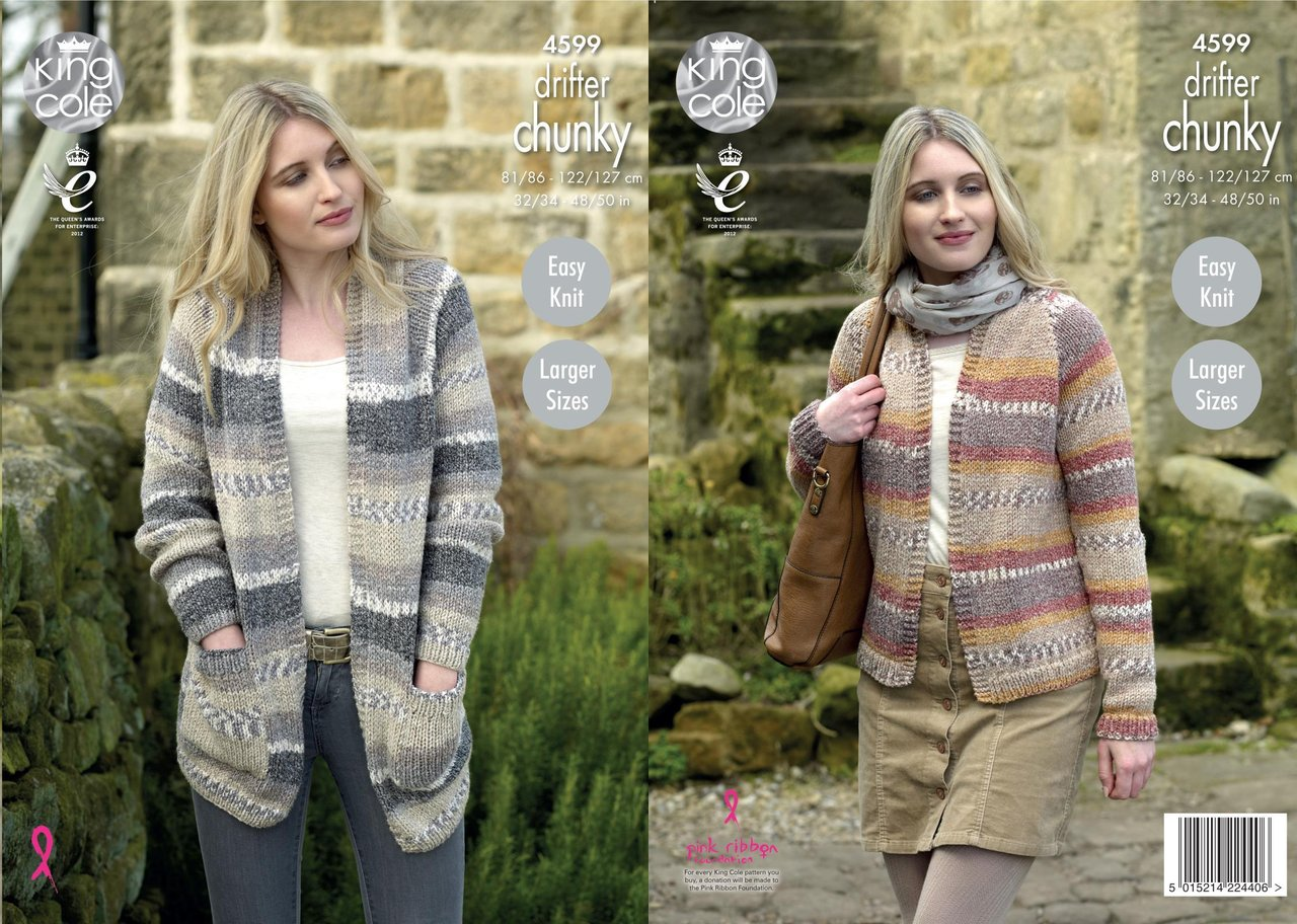 King Cole 4599 Knitting Pattern Ladies Cardigans in King Cole Drifter Chunky ...