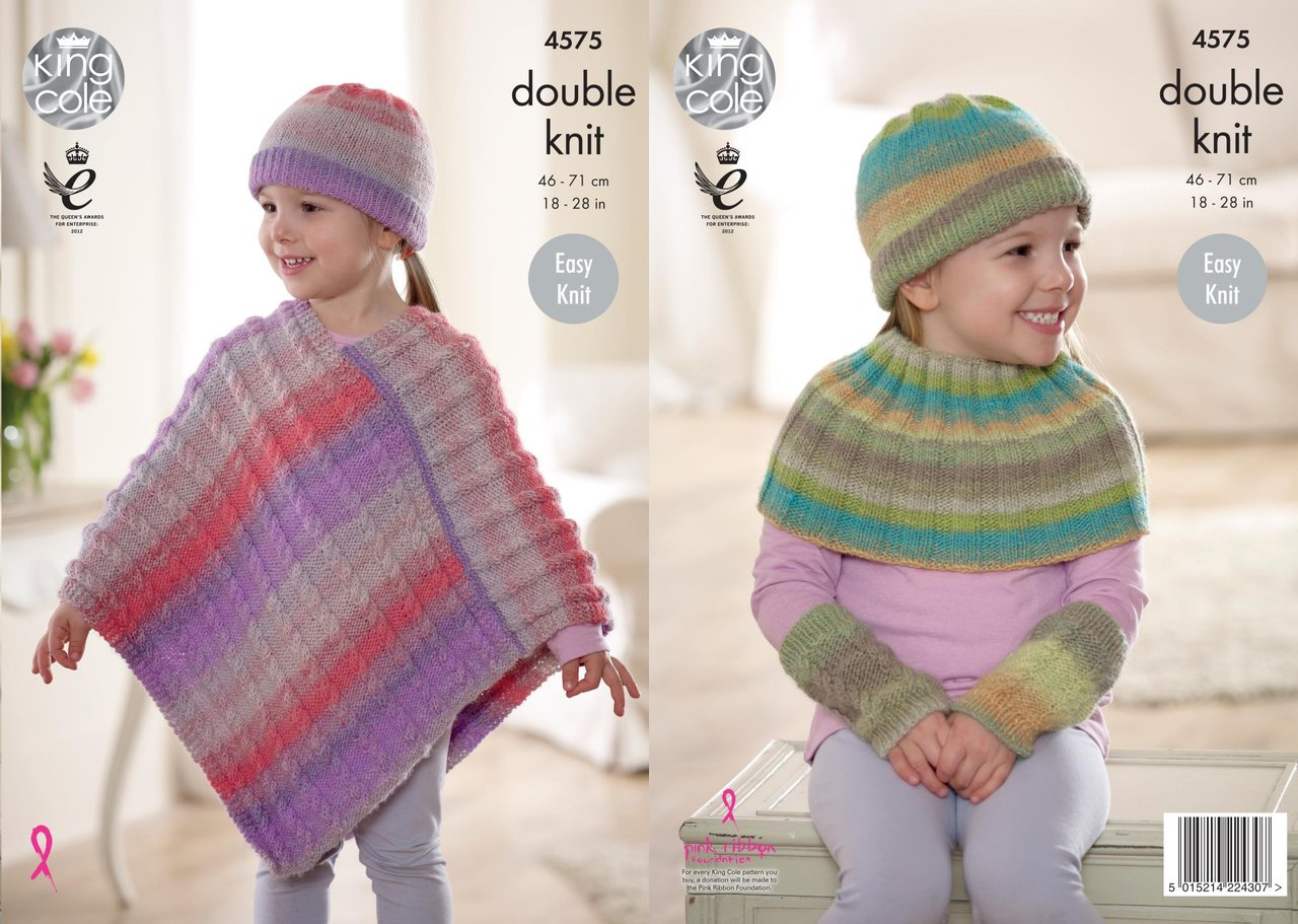 King Cole 4575 Knitting Pattern Girls Poncho, Shoulder Warmer, Hat and Wristw...