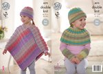 King Cole 4575 Knitting Pattern Girls Poncho, Shoulder Warmer, Hat and Wristwarmers in Sprite DK
