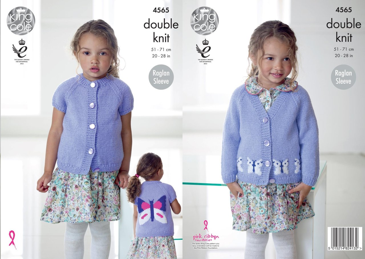 King Cole 4565 Knitting Pattern Girls Raglan Sleeve Butterfly ...