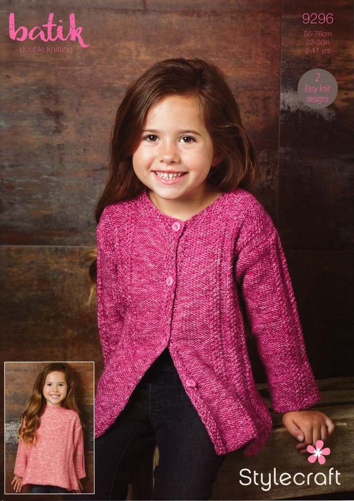 Stylecraft 9296 Knitting Pattern Girls Easy Knit Sweater