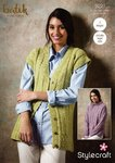 Stylecraft 9291 Knitting Pattern Womens Sweater and Waistcoat in Stylecraft Batik DK