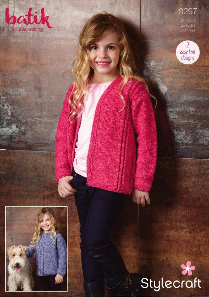 Stylecraft 9297 Knitting Pattern Girls Easy Knit Sweater And