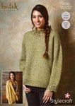 Stylecraft 9293 Crochet Pattern Womens Sweater and Waterfall Jacket in Stylecraft Batik DK