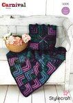 Stylecraft 9306 Crochet Pattern Mitred Square Throw and Cushion Stylecraft Carnival Chunky