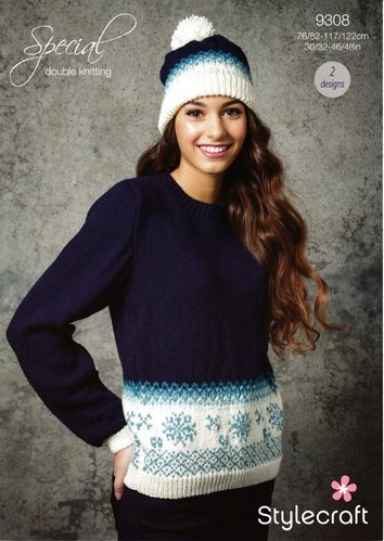 Stylecraft 9308 Knitting Pattern Womens Snowflake Christmas Jumper and Hat in Stylecraft Special DK