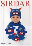 Sirdar 2471 Knitting Pattern Childrens Monster Hat, Gloves and Scarf in Sirdar Snuggly DK