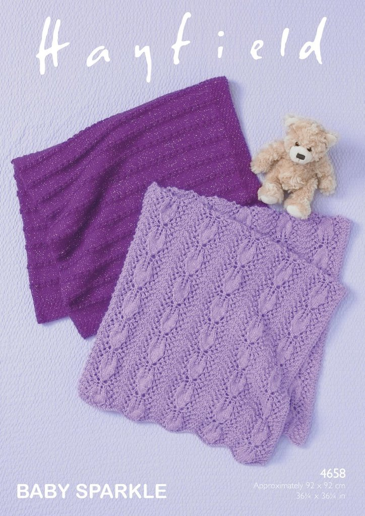 Hayfield Knitting Patterns For Babies : Sirdar Hayfield 4658 Knitting Pattern Baby Blankets in Hayfield Baby Sparkle ...