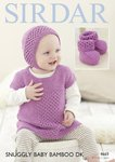 Sirdar 4669 Knitting Pattern Baby Dress Bonnet & Bootees in Sirdar Snuggly Baby Bamboo DK