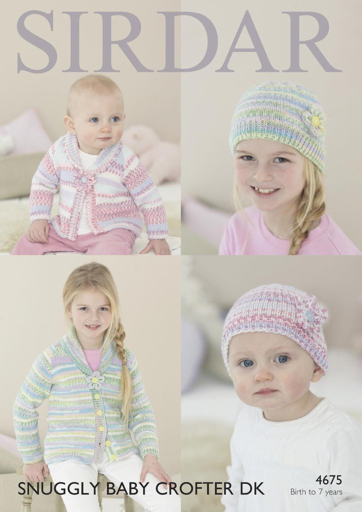 Easy Teddy Bear Knitting Pattern : Sirdar 4675 Knitting Pattern Baby Childrens Cardigan and Hat in Snuggly Baby ...