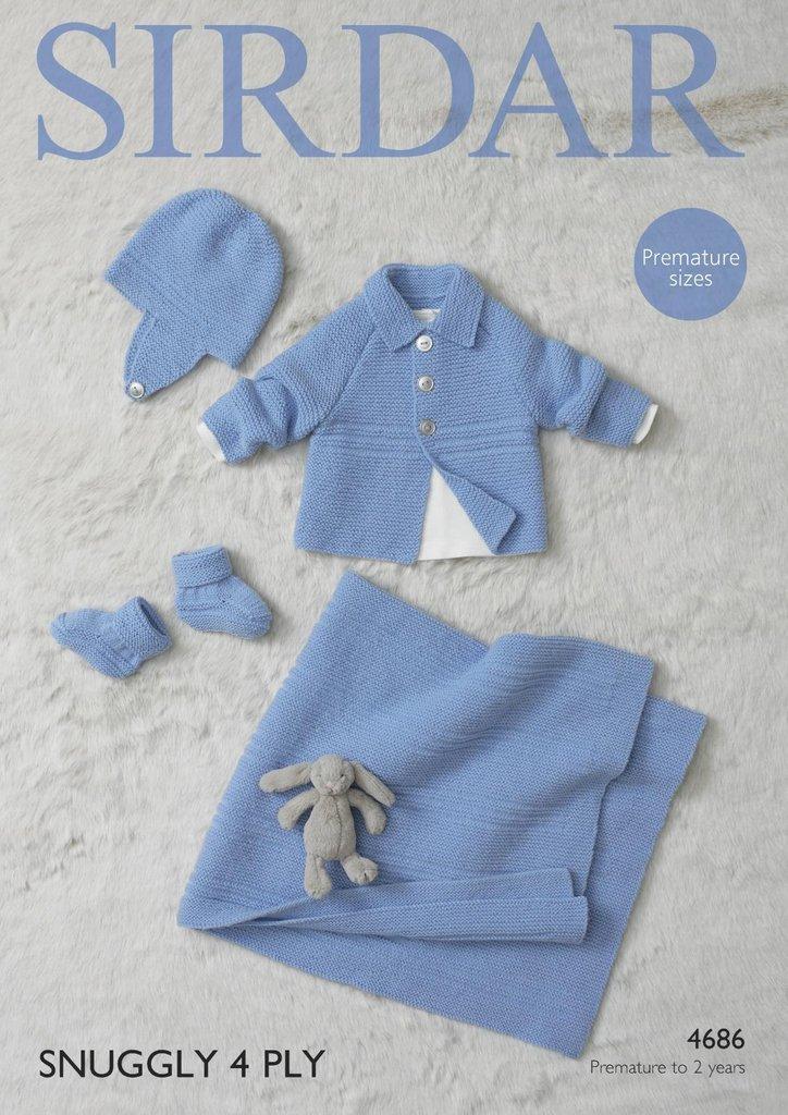 Sirdar 4686 Knitting Pattern Baby Jacket, Helmet, Bootees & Blanket in Si...
