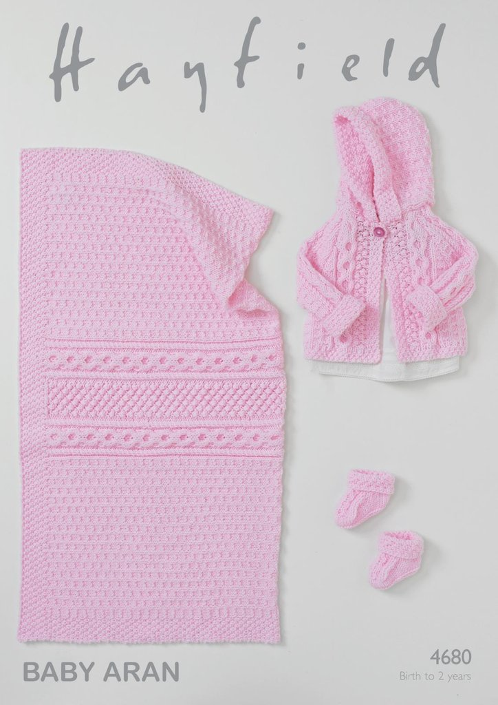 Hayfield Aran Knitting Pattern Books : Sirdar 4680 Knitting Pattern Baby Jacket, Bootees and ...