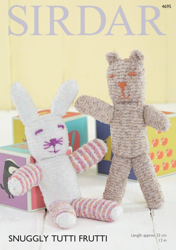 Sirdar 4695 Knitting Pattern Toy Bear & Rabbit in Sirdar Snuggly Tutti Fr...