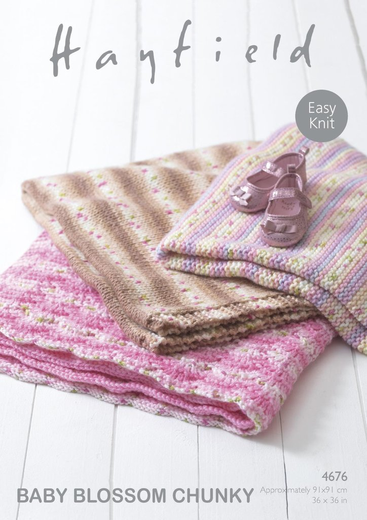 Sirdar 4676 Knitting Pattern Easy Knit Baby Blankets In Hayfield