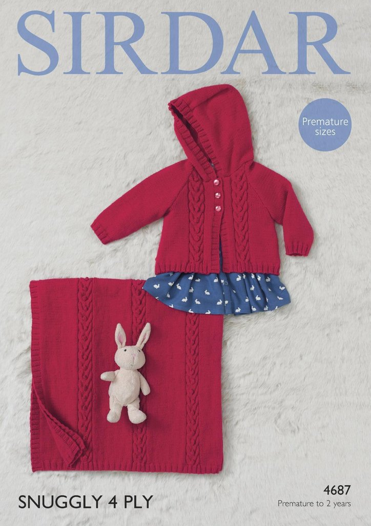 Knitting Pattern Baby Blanket 4 Ply : Sirdar 4687 Knitting Pattern Baby Girls Hooded Jacket & Blanket in S...
