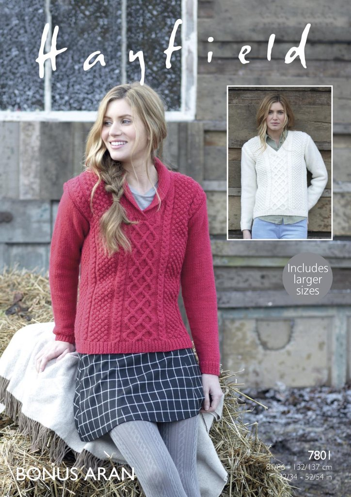 Sirdar 7801 Knitting Pattern Womens V Neck And Wrap Neck Sweaters In