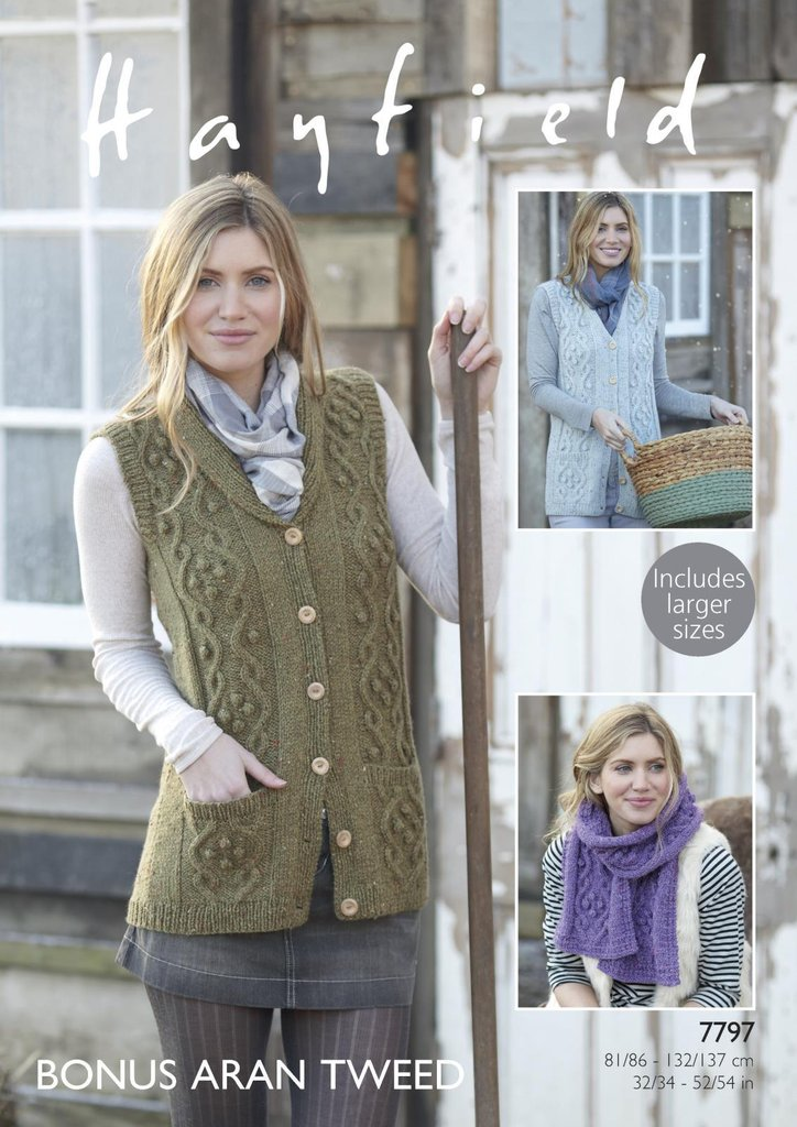 Sirdar 7797 Knitting Pattern Womens Waistcoats And Scarf In Hayfield