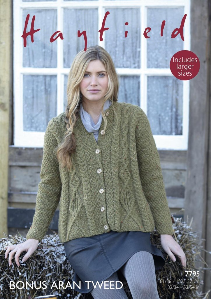 Sirdar 7795 Knitting Pattern Womens Swing Coat In Hayfield Bonus
