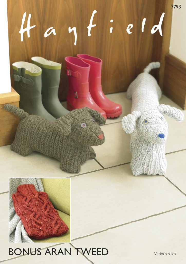 Knitted Draught Excluder Pattern : Sirdar 7793 Knitting Pattern Hot Water Bottle Cover Door Stop Draught Exclude...
