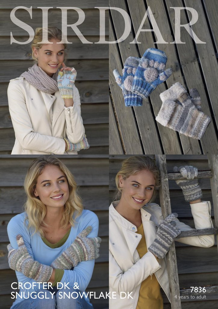 Sirdar 7836 Knitting Pattern Womens Girls Gloves and ...