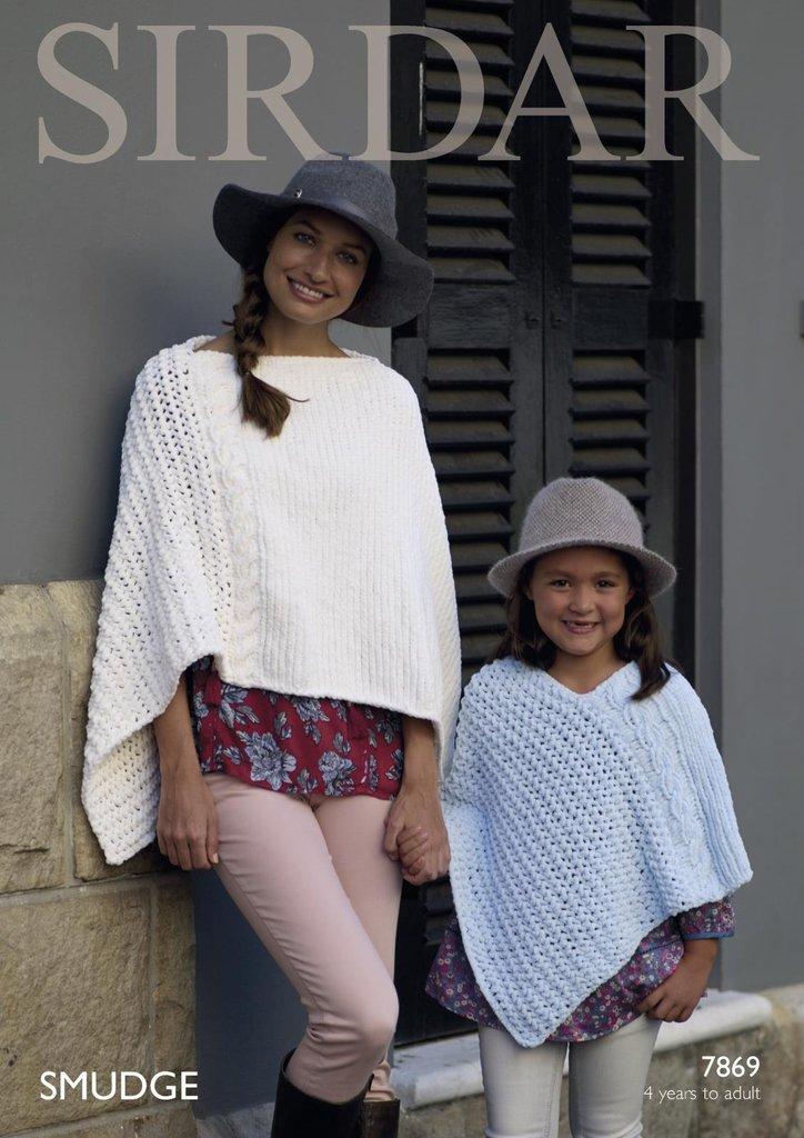 Sirdar 7869 Knitting Pattern Womens Girls Ponchos in Sirdar Smudge - Athenbys