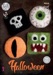 King Cole 9054 Knitting Pattern Halloween Cushions in Tinsel Chunky